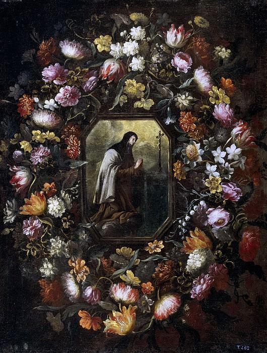 Pérez, Bartolomé -- Guirnalda de flores con Santa Teresa de Jesús. Part 3 Prado Museum