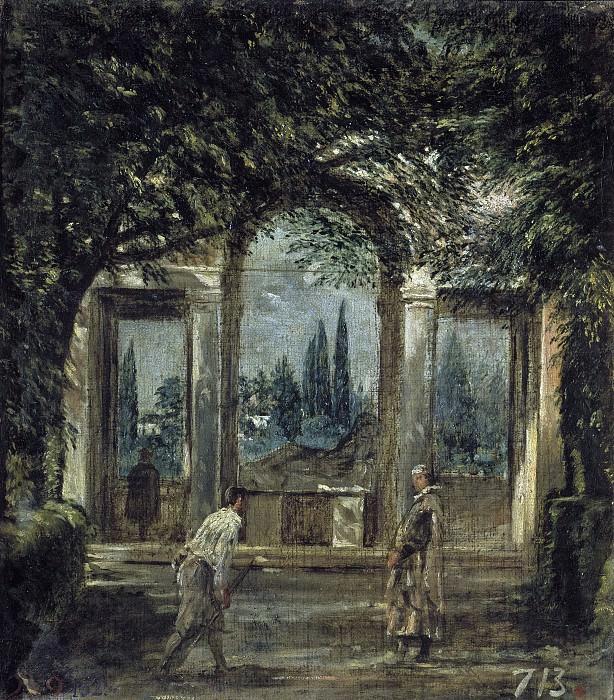 Velázquez, Diego Rodríguez de Silva y -- Vista del jardín de la Villa Medici de Roma. Part 3 Prado Museum
