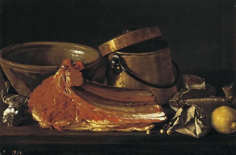 Meléndez, Luis Egidio -- Bodegón: chuletón, condimentos y recipientes. Part 3 Prado Museum