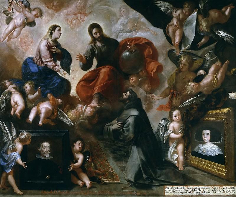 Caro, Francisco -- San Francisco de Asís en la Porciúncula, con los donantes Antonio Contreras y María Amezquita. Part 3 Prado Museum