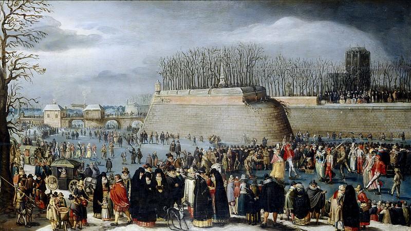 Alsloot, Denis van -- Mascarada patinando, o El Carnaval sobre el hielo de los fosos de la Kipdorppoort en Amberes. Part 3 Prado Museum