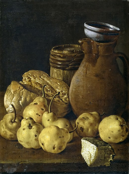 Meléndez, Luis Egidio -- Bodegón: pan, peras, queso y recipientes. Part 3 Prado Museum