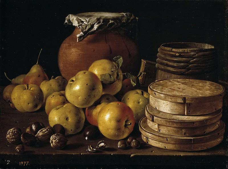 Meléndez, Luis Egidio -- Bodegón: manzanas, peras, cajas de dulce y recipiente. Part 3 Prado Museum