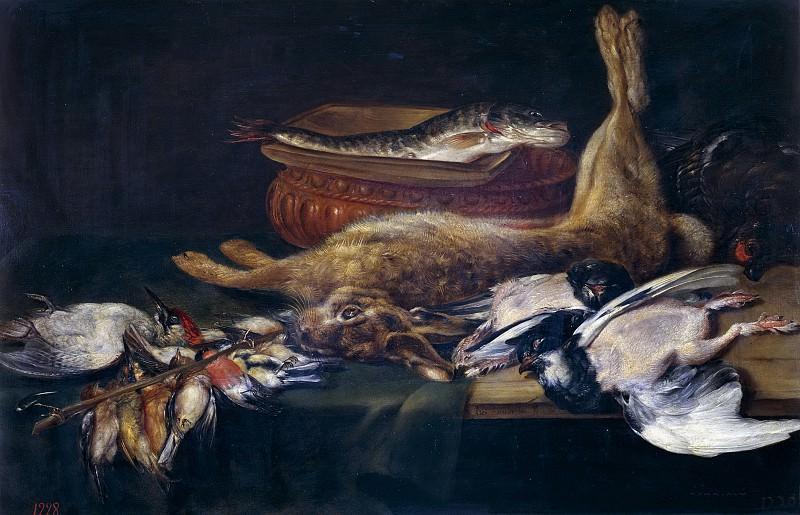 Adriaenssen, Alexander -- Bodegón: liebre, pájaros muertos y pescados. Part 3 Prado Museum