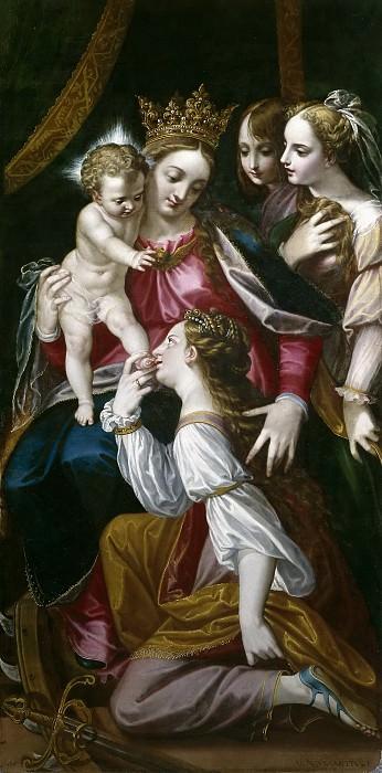 Sánchez Coello, Alonso -- Desposorios místicos de Santa Catalina. Part 3 Prado Museum