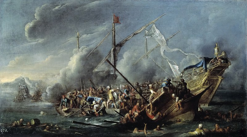 Валь, Корнелис де -- Морской бой между испанцами и турками. Часть 3 Музей Прадо
