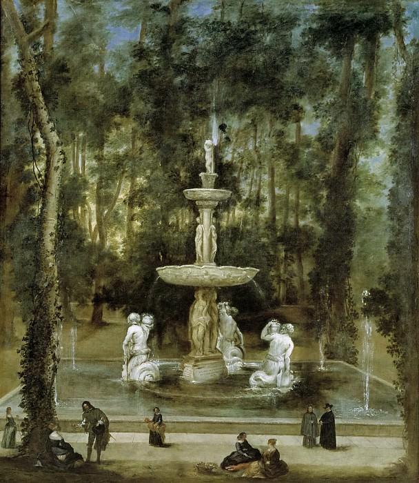 Velázquez, Diego Rodríguez de Silva y (Taller de) -- La Fuente de los Tritones en el Jardín de la Isla, de Aranjuez. Part 3 Prado Museum
