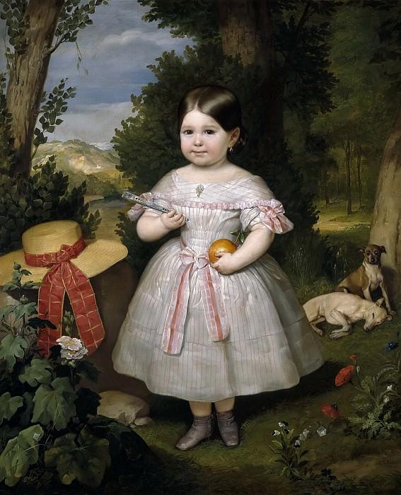 Ribera y Fieve, Carlos Luis de -- Retrato de niña con fondo de paisaje. Part 3 Prado Museum