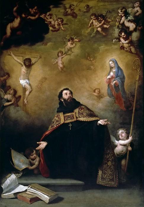 Мурильо, Бартоломе Эстебан -- Св Августин между Христом и Девой Марией. Часть 3 Музей Прадо