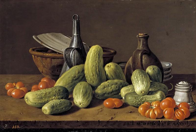 Meléndez, Luis Egidio -- Bodegón: pepinos, tomates y recipientes. Part 3 Prado Museum