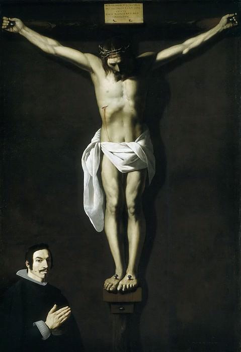 Zurbarán, Francisco de -- Cristo crucificado con donante. Part 3 Prado Museum