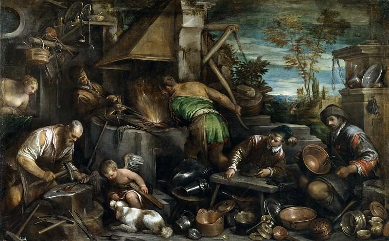 Bassano, Jacopo -- La fragua de Vulcano. Part 3 Prado Museum