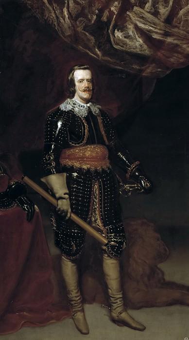 Velázquez, Diego Rodríguez de Silva y (Taller de) -- Felipe IV armado y con un león a los pies. Part 3 Prado Museum