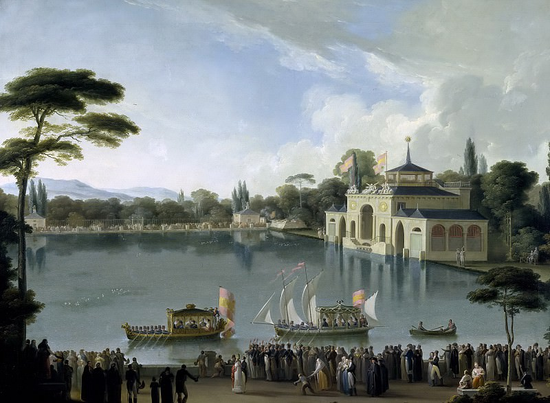 Ribelles y Helip, José -- Embarque Real en el estanque grande del Retiro. Part 3 Prado Museum