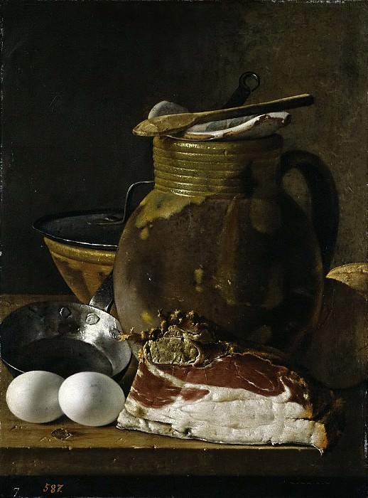 Meléndez, Luis Egidio -- Bodegón: jamón, huevos y recipientes. Part 3 Prado Museum