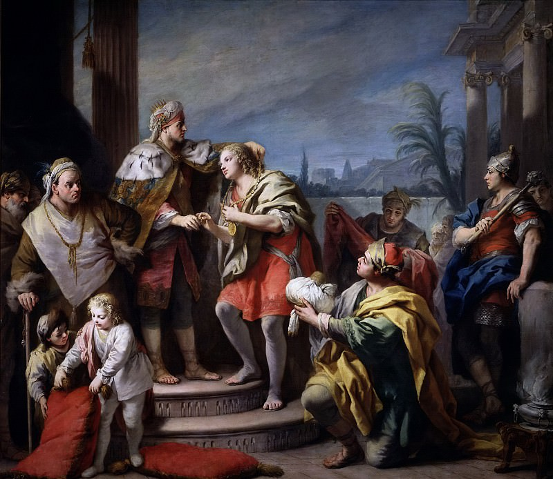 Amigoni, Jacopo -- José en el palacio del Faraón. Part 3 Prado Museum