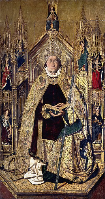 Bermejo, Bartolomé -- Santo Domingo de Silos entronizado como obispo. Part 3 Prado Museum