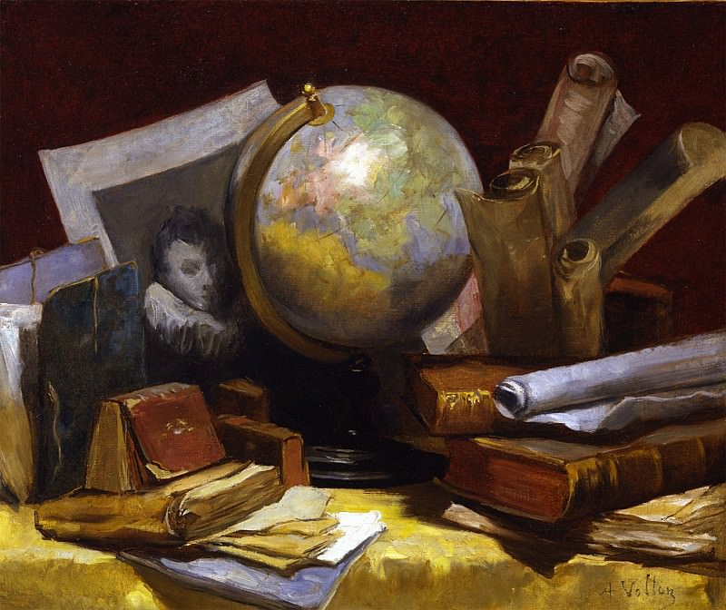 Antoine Vollon Still life with a map of the world books and parchments 29888 172. European art; part 1