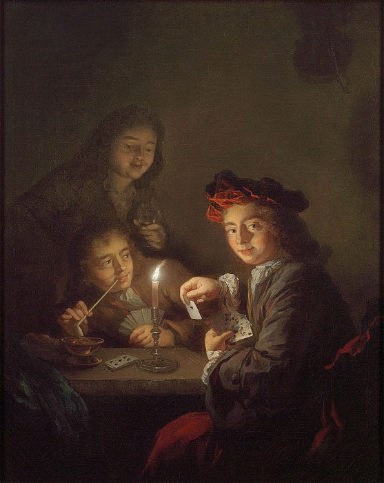 Arnold Boonen A candlelit interior with boys playing cards 97799 20. European art; part 1