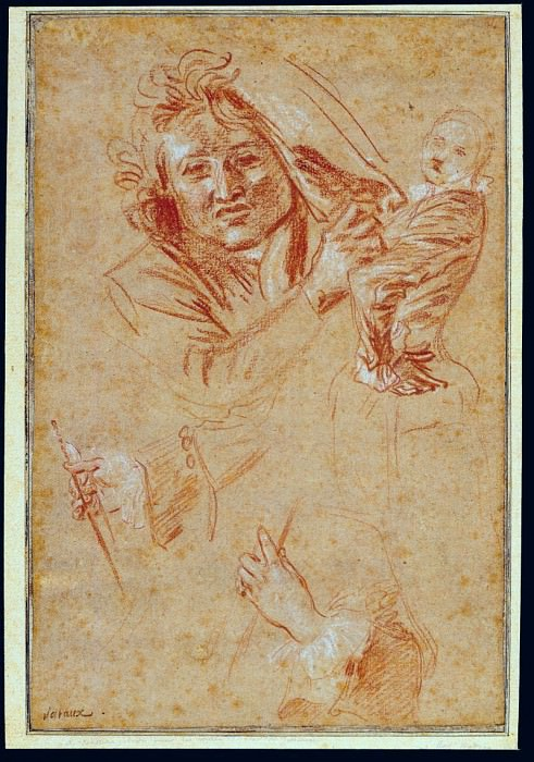 Antoine Watteau A Man seen en face pulling a Curtain a young Woman posing on the right and two Studies of Hands holding a Bow and a Fingerboard respectively 90108 172. European art; part 1