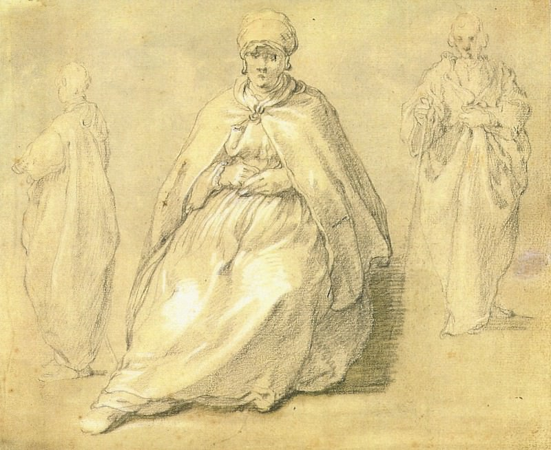 ABRAHAM BLOEMAERT Seated Woman and Two Male Figuers; Verso Studies of a standing male figure. European art; part 1