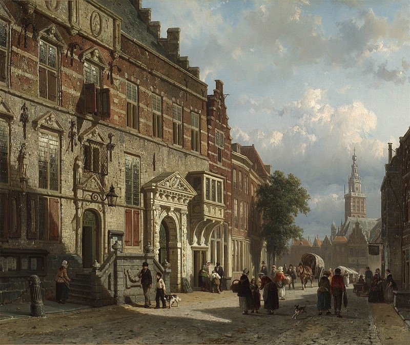 Cornelis Springer The Town Hall on the Burchtstraat with St Stevens Church beyond Nijmegen 28842 20. Европейская живопись; часть 1