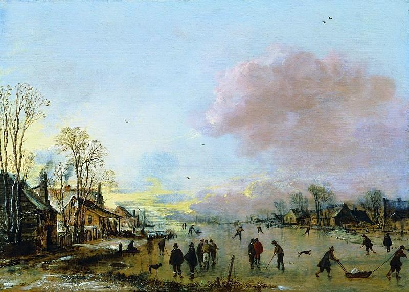 Aert Neer van der A Village in Winter with Skaters on a Frozen Canal 30828 276. European art; part 1