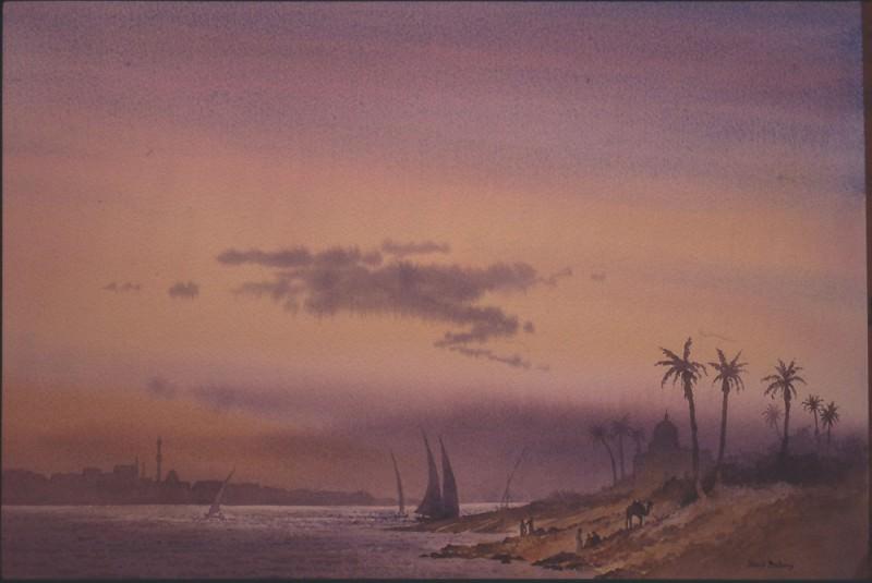 David Bellamy Nile at Luxor at Dusk 31917 3606. European art; part 1