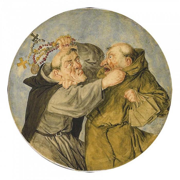CORNELIS DUSART Two Monks Fighting 11344 172. European art; part 1