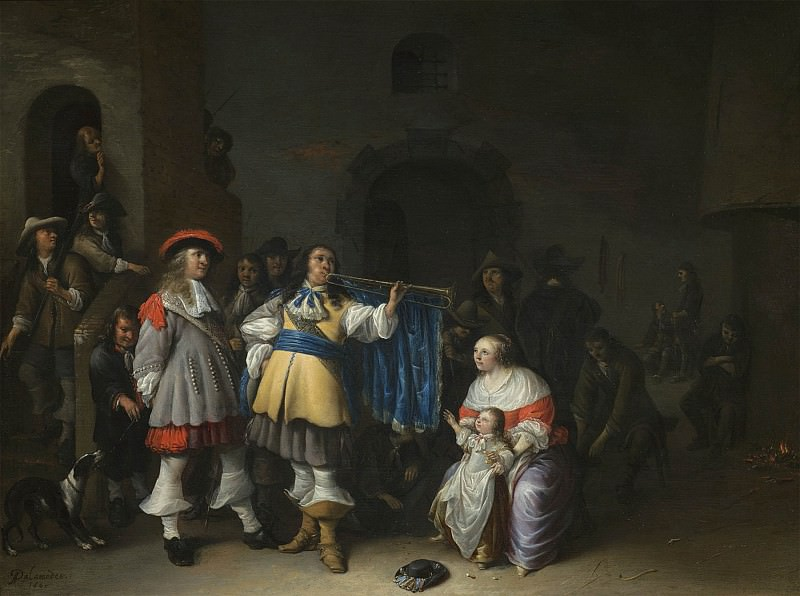 Anthonie Palamedes A guardroom interior with an officer sounding a trumpet before a mother & child 99661 20. European art; part 1