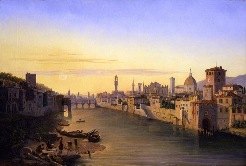 ANTOINE MARIE Perrot Florence A view of the River Arno 32230 172. European art; part 1