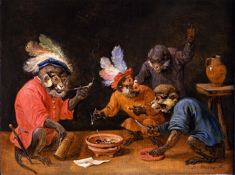 DAVID TENIERS THE YOUNGER Monkeys drinking and smoking; and Monkeys playing cards 90216 184. European art; part 1