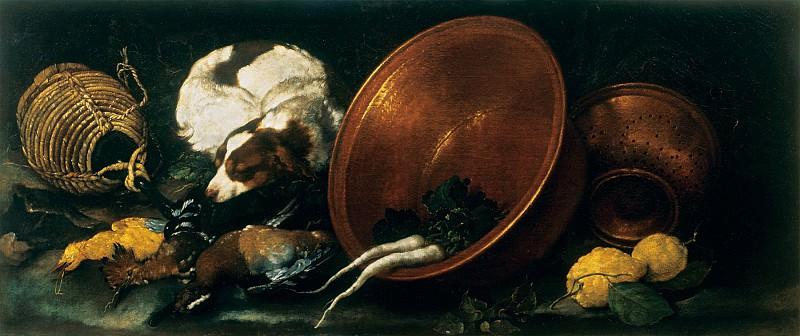 Bartolomeo Guidobono Still life with Kitchen Utensils Poultry Sleeping Dog and Lemons 17943 203. Европейская живопись; часть 1