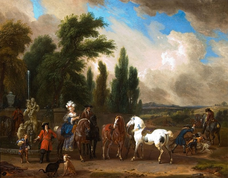 Dirck Maas Landscape with Elegant Figures Horses and Dogs 27405 268. European art; part 1