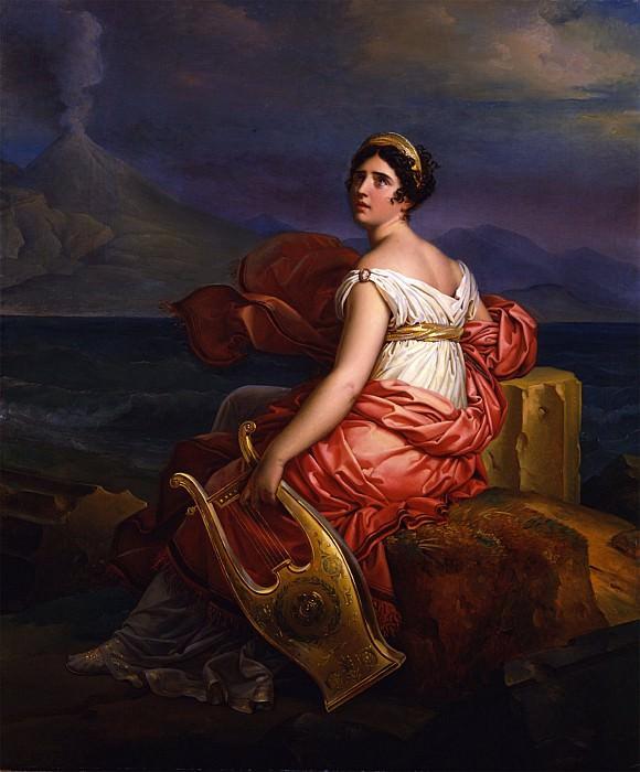 BARON FRANÇOIS PASCAL SIMON GÉRARD Portrait of Mme de StaÄl as Corinne at the Capa de Mesino with Vesuvius in the Background 32220 172. European art; part 1
