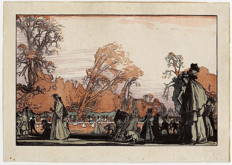 Auguste Lepère Le Bassin des Tuileries – The Boat Pond in the Tuileries Gardens 1898 123179 1124. European art; part 1