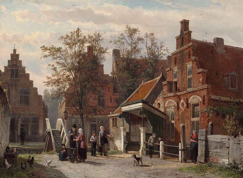 Cornelis Springer A street scene in Makkum Friesland 28840 20. European art; part 1