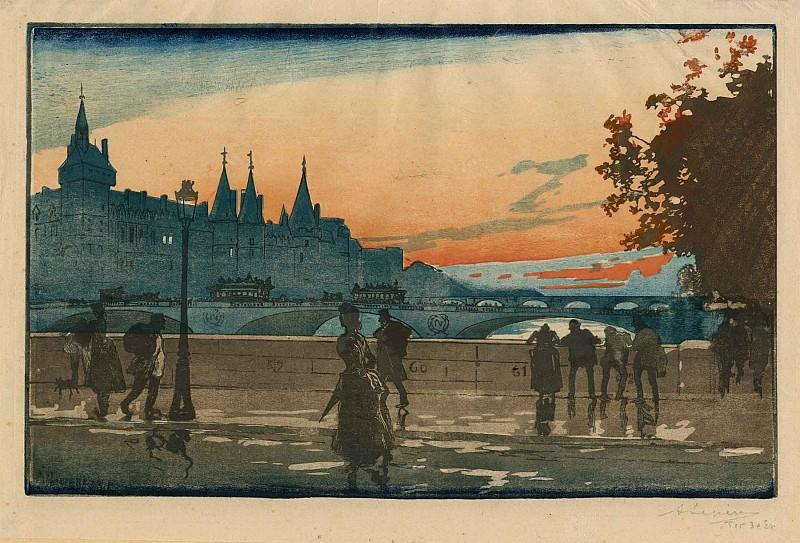Auguste Lepère Le Palais de Justice vu du Pont Notre Dame – The Palais de Justice in Paris seen from the Pont Notre Dame 1889 123139 1124. European art; part 1