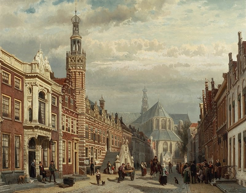 Cornelis Springer View of the Town Hall and St Lawrences Church in Alkmaar 28843 20. Европейская живопись; часть 1