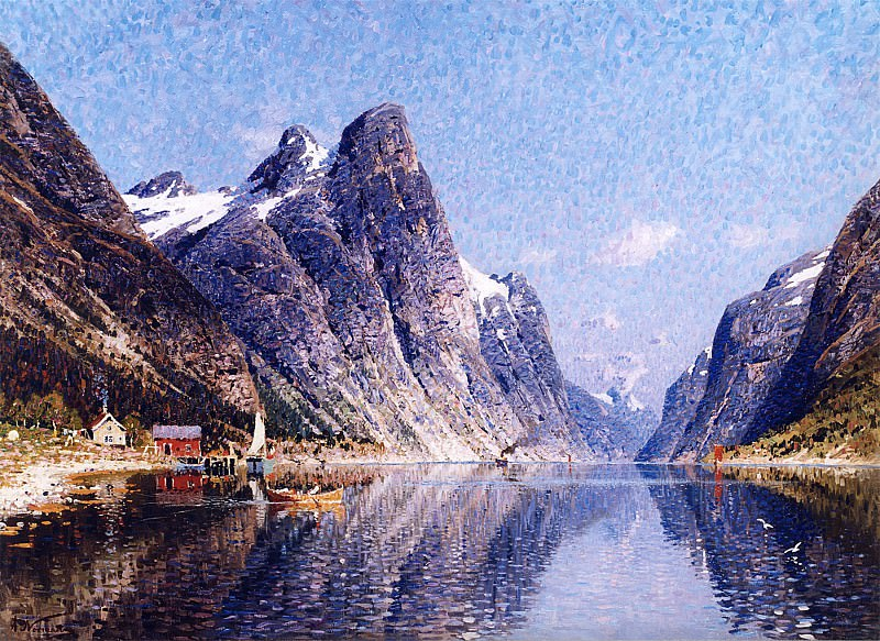 Adelsteen Normann A Norwegian Fjord Scene 12178 2426. European art; part 1