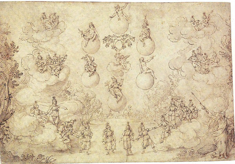"ALFONSO PARIGI Study for a Stage Setting for ""Le Nozze degli Dei"" 11380 172. European art; part 1"