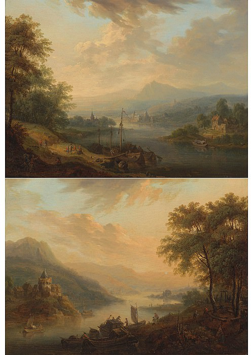 Christian Georg Schutz Rhenish river landscapes Dawn and Dusk 100079 20. European art; part 1