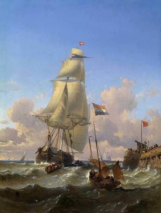 Alexandre J FRANCIA Boats near the Pier 87439 121. Европейская живопись; часть 1