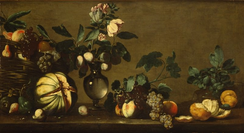 Bernardo Strozzi - Nature morte avec une corbeille de fruits un vase de fleurs et des fruits sur un entablement. European art; part 1