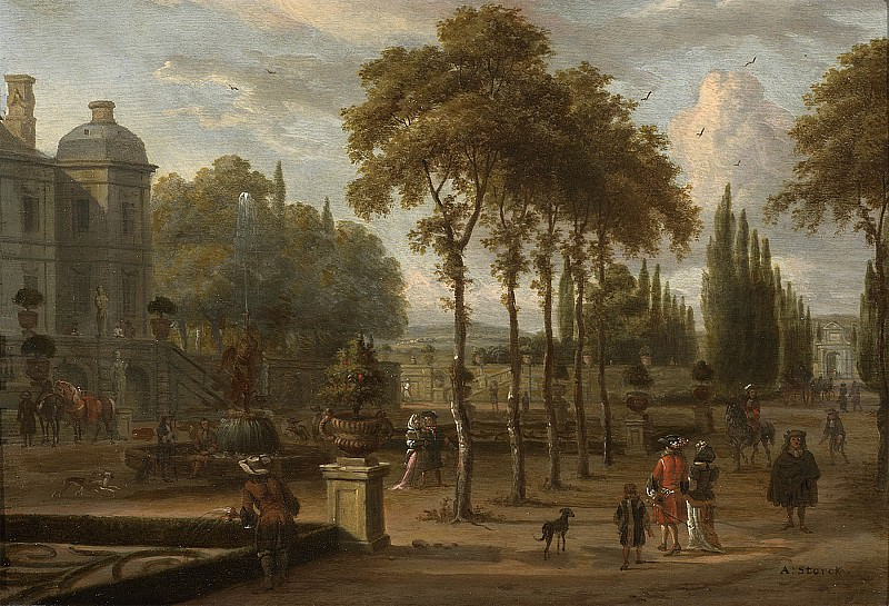 Abraham Storck Elegant company in a garden by a mansion 27981 20. European art; part 1