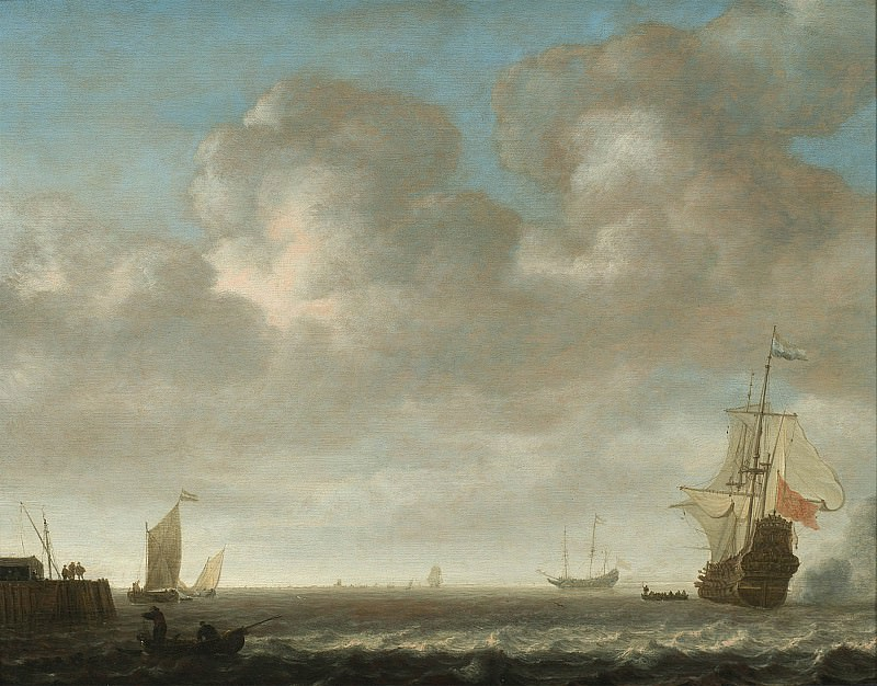 An estuary scene with a Man OWar firing a salute to the right and small vessels off a jetty to the left 25807 20. European art; part 1
