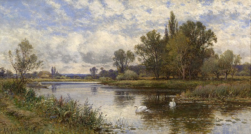 Alfred Augustus Glendening River Scene with Swans. European art; part 1