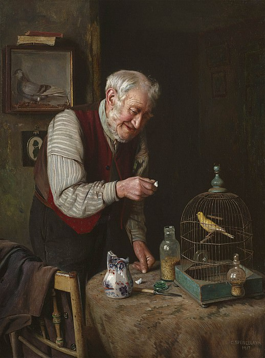 Charles Spencelayh A favourite pet. European art; part 1