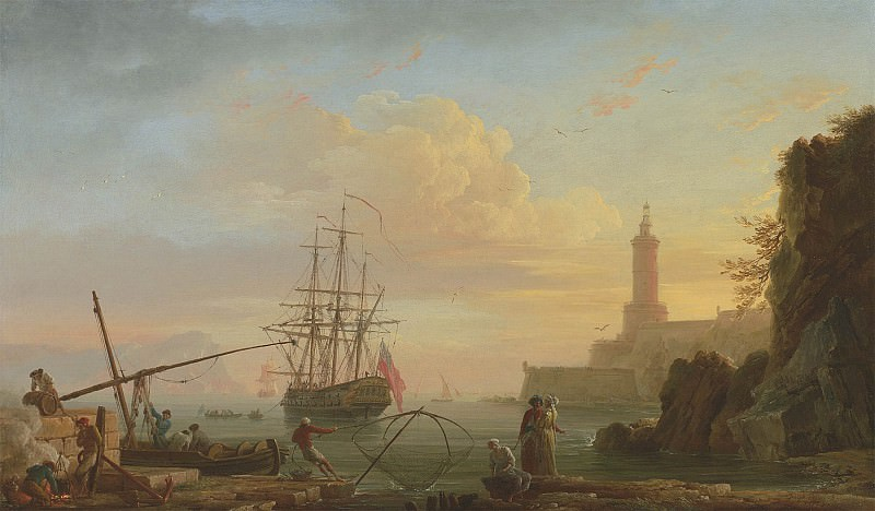 Claude Joseph Vernet A Mediterranean port at sunrise 100419 20. European art; part 1