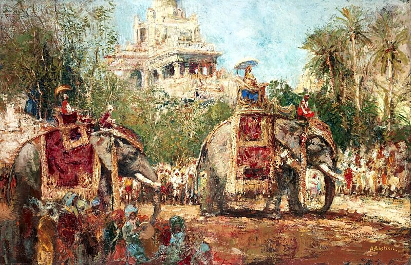 Alfred BASTIEN Indian Royal Maharaja and his Holy elephants. European art; part 1